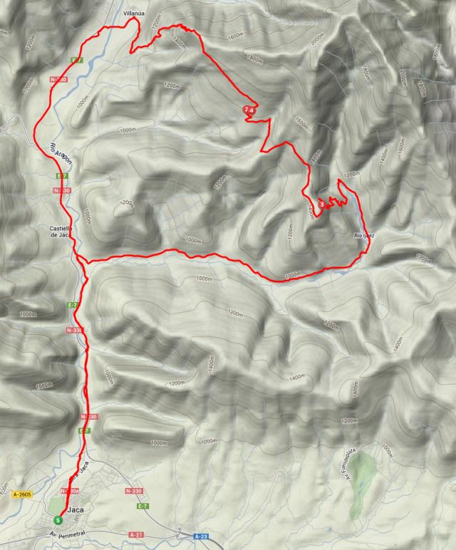 Mapa del Recorrido propuesto en el Reto BTTAVA 04
