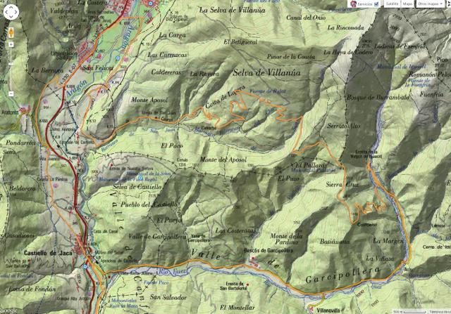 Mapa de detalle de la ruta por la zona de la Garcipollera