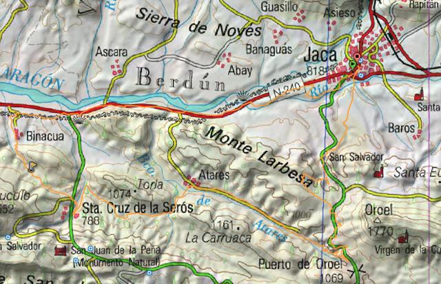 MapaGral Jaca, Binacua, Sta Cruz de la Seros. Atares, Puerto Oroel, trialera Fuenfria, Jaca
