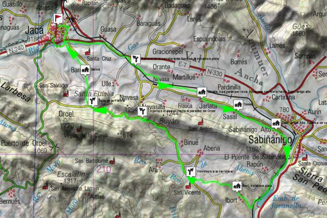 Mapa Jaca - Jarlata - Ibort - trailera Barós - Jaca