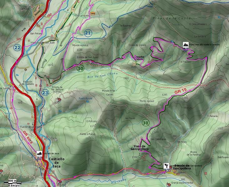 Mapa de detalle de la vuelta Cenarbe con el desvío hacia el dolmen