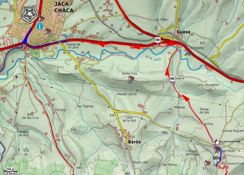 Mapa detalle 03: Desde Ulle hasta Jaca