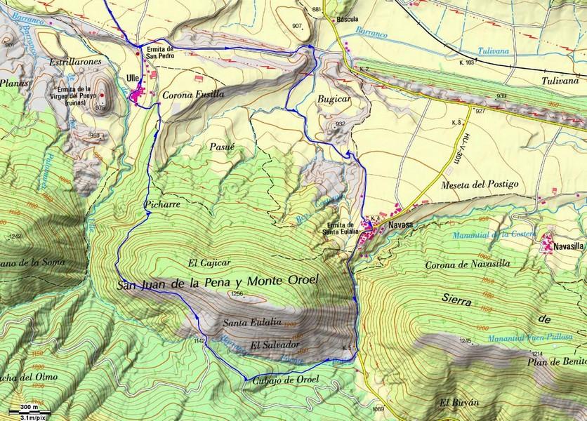 Mapa detalle de los sendero en la zona de Ulle