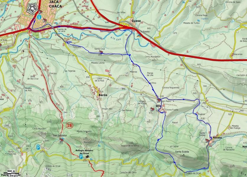 Mapa de la salida hacia Ulle para conocer sus senderos
