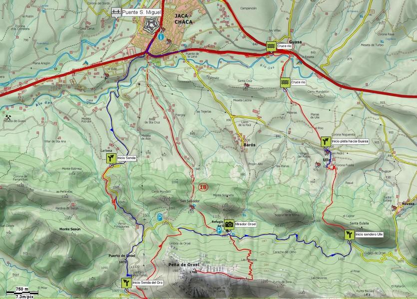 Mapa general de la salida: Senda Fonfría, Senda del Oro y senda de Ulle