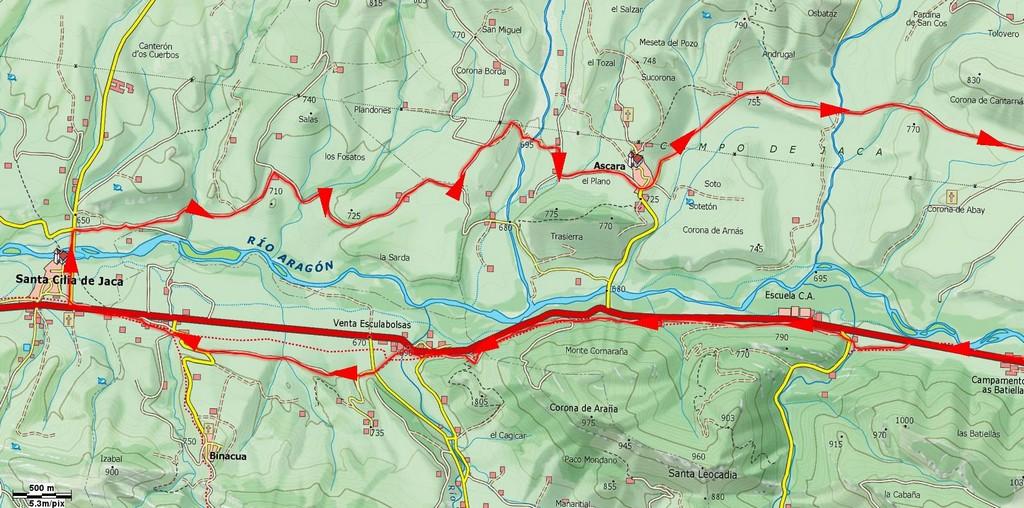 Mapa detalle de la ruta más próxima a Sta. Cilia