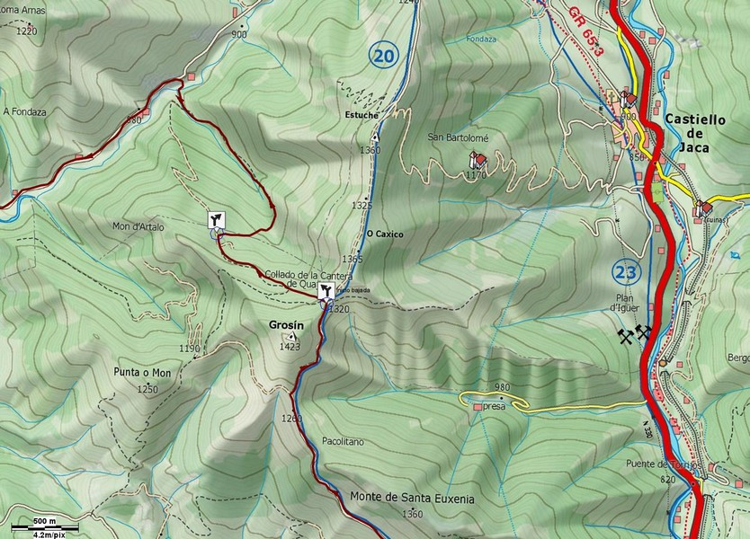 Mapa con detalle de la senda del aljibe de Grosín