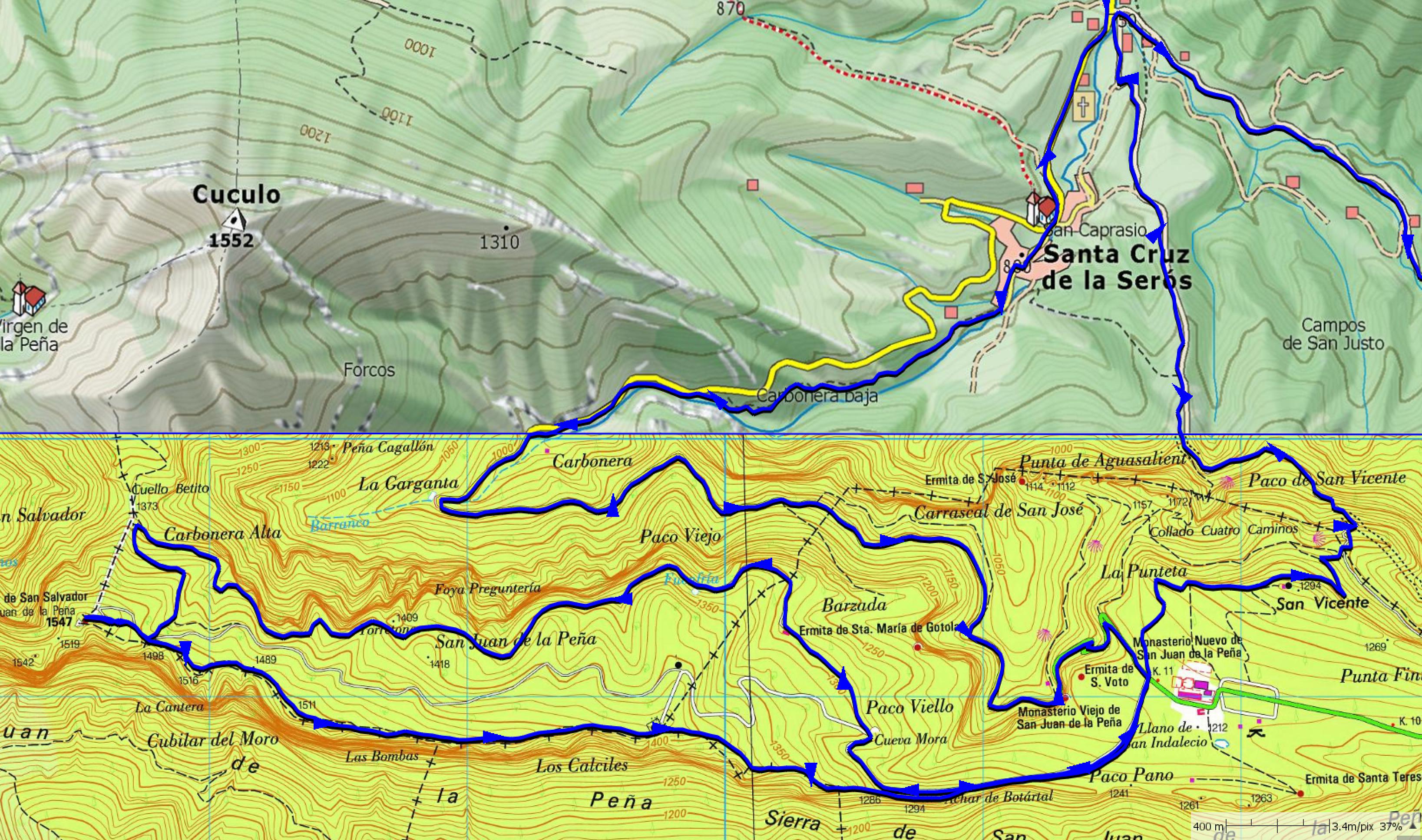 Mapa detalle desde Santa Cruz