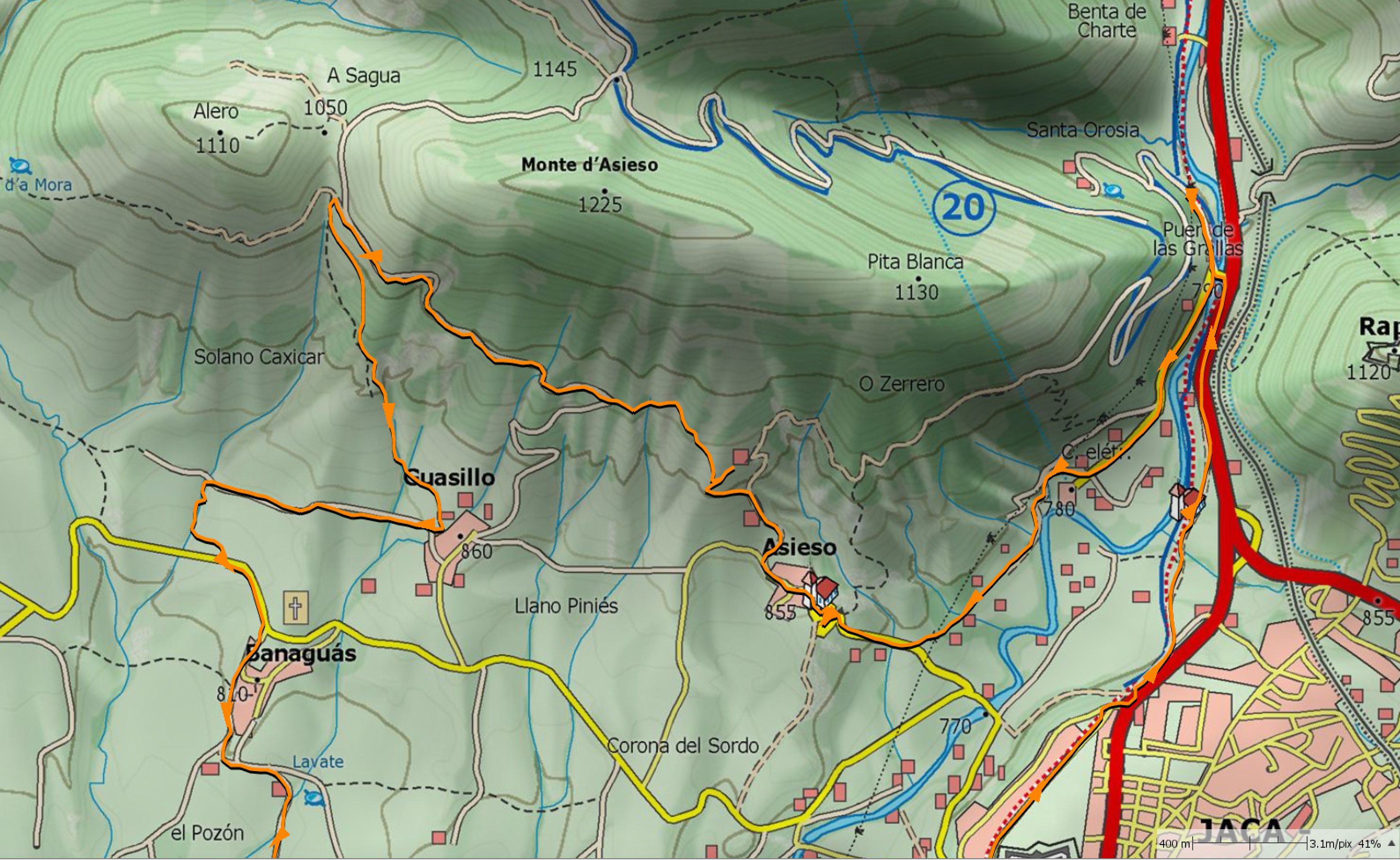 Mapa SUA, sendas Asieso y Guasillo