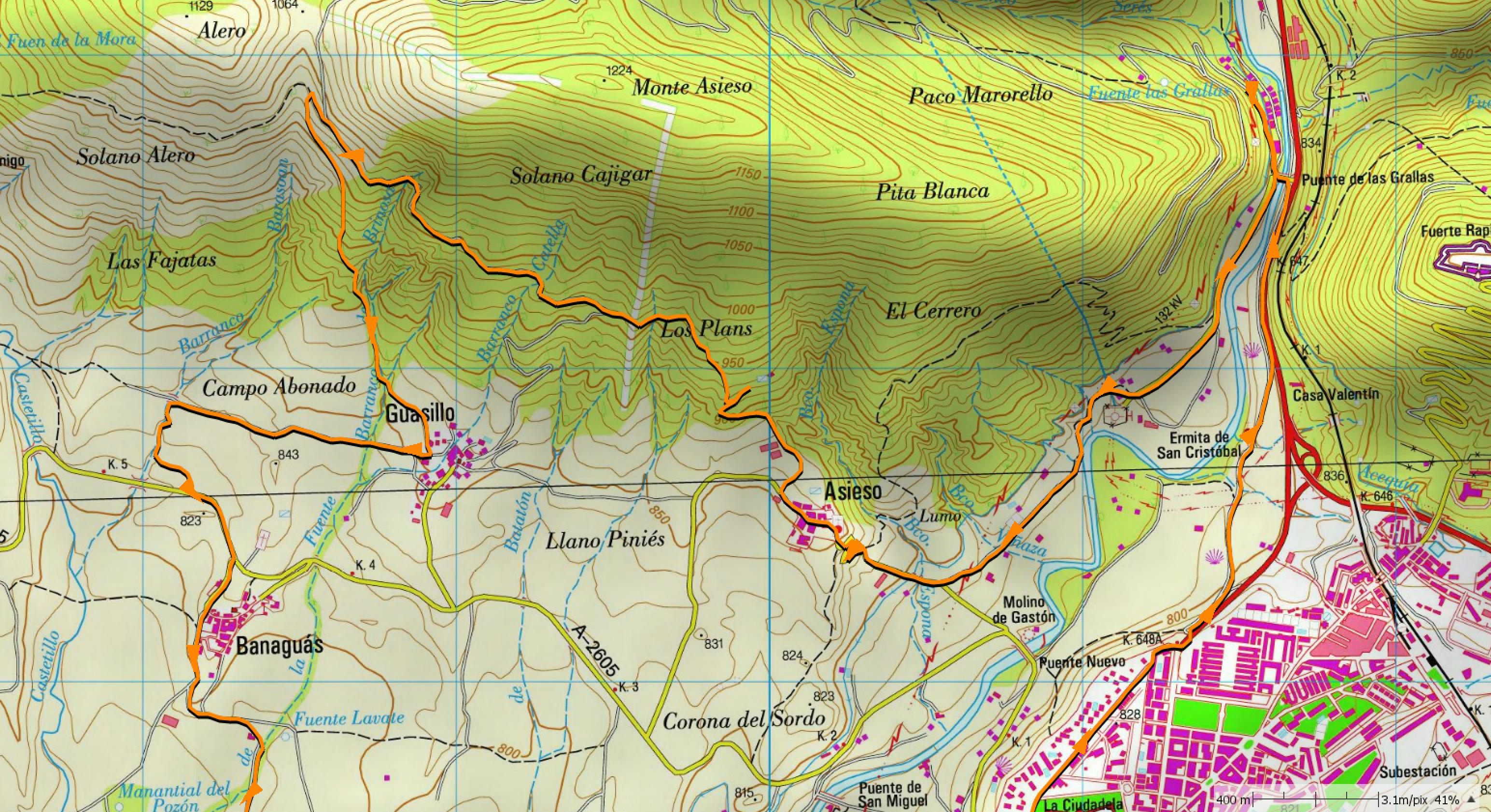 Mapa IGN; detalle de sendas Asieso y Guasillo