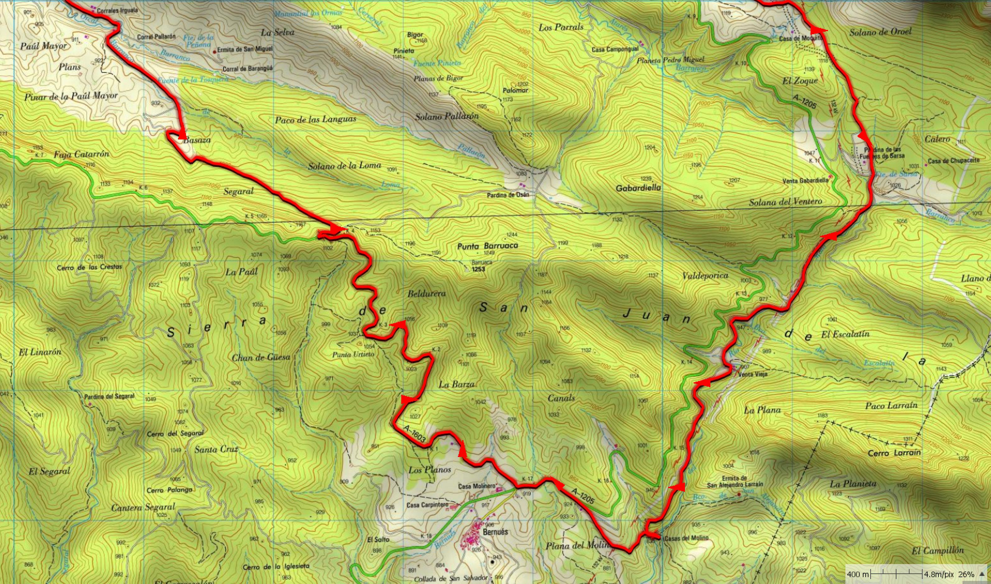 Mapa Zona Próxima a Bernués