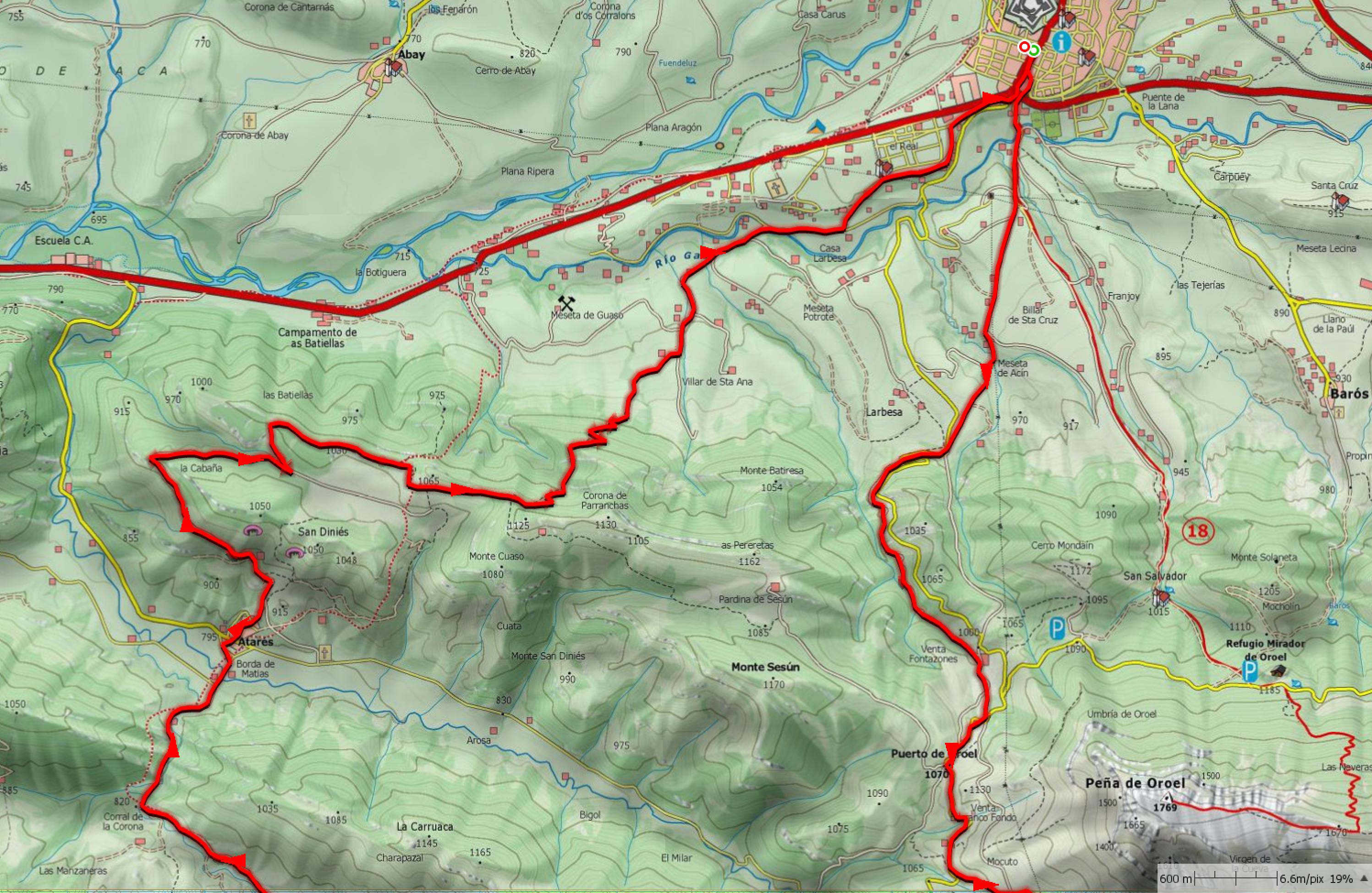Mapa zona próxima a Jaca